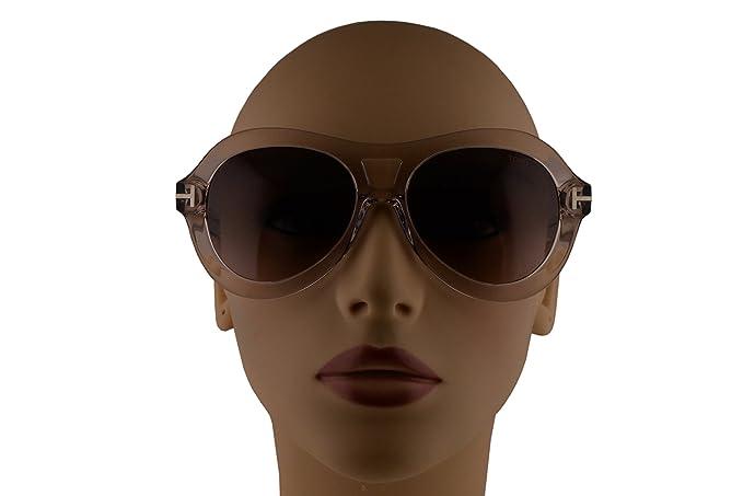 90fb778b0bd8 Amazon.com  Tom Ford FT0514 Isla Transparent Pink Rosa Sunglasses  w Bordeaux Lens 74S TF514  Clothing