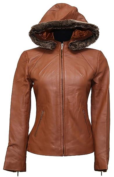 Amazon.com: Chaqueta de piel de oveja con capucha para mujer ...