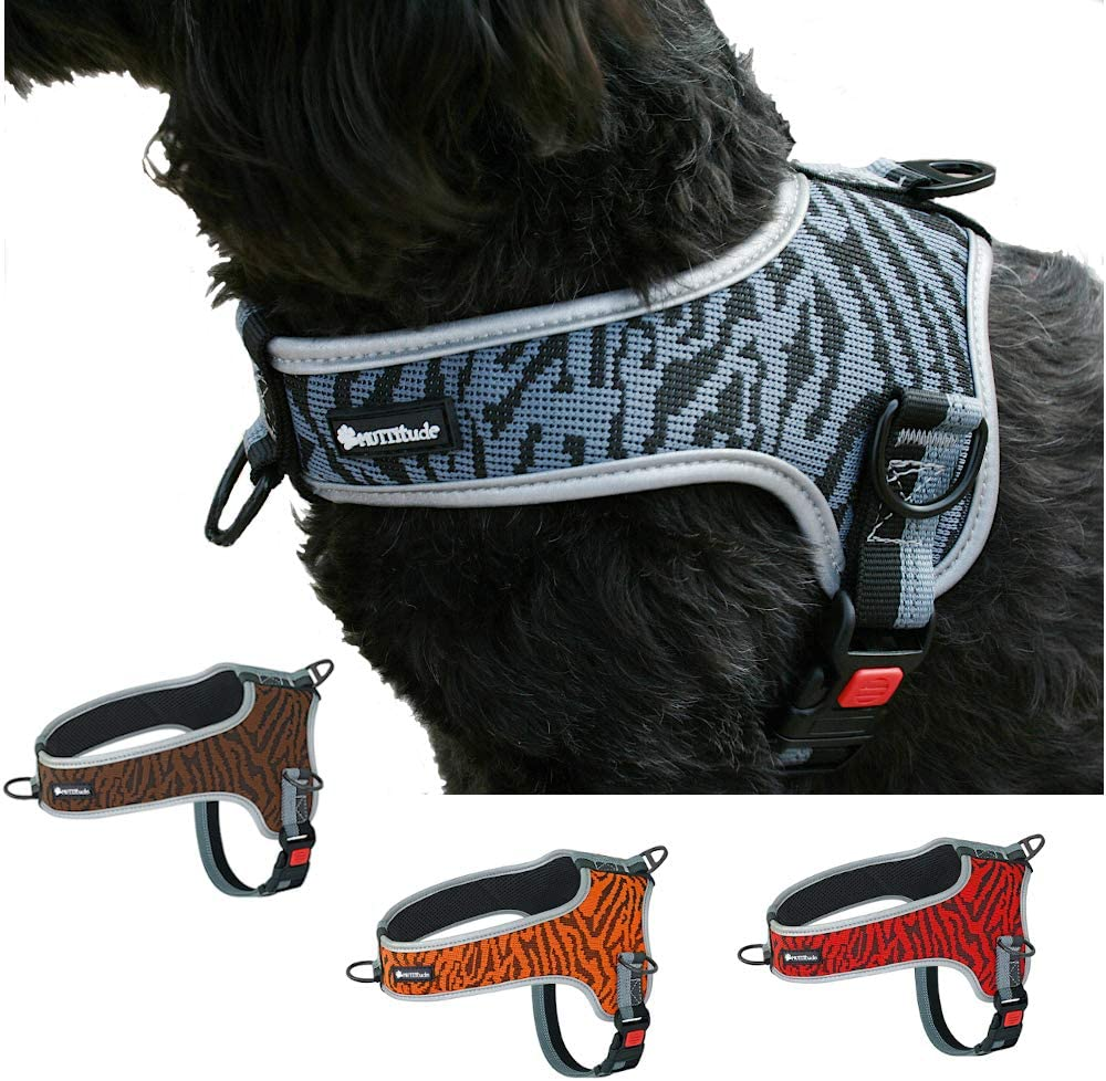 Muttitude No-Pull Training Dog Harness - Front Clip Dog Harness – Brown, Red, Orange, and Black Dog Harness for Dogs 10 to 55 Lbs