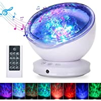 Ocean Wave Projector, GRDE 2019 Newest 12 LED Remote Control Night Light Lamp with Timer 8 Lighting Modes Light Show LED Night Light Projector Lamp for Baby Kids Adults Bedroom Living Room