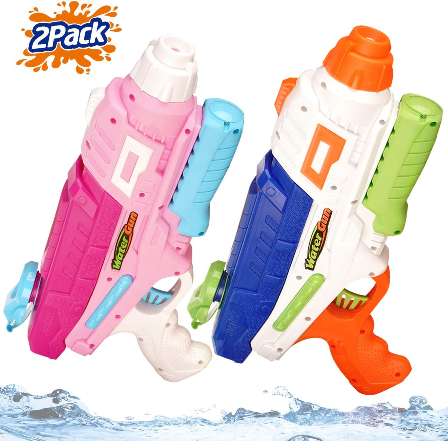 Jogotoll 2 Pack Water Guns for Kids Adults 600CC Blaster 32 Ft Long Range Squirt Guns Pool Beach Sand Toys Water Pistol