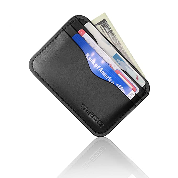 0b6f51e3e6d9 TI-EDC Minimalist Slim Wallet Genuine Leather RFID Blocking Credit Card  Holder Front Pocket Wallet for Men and Women