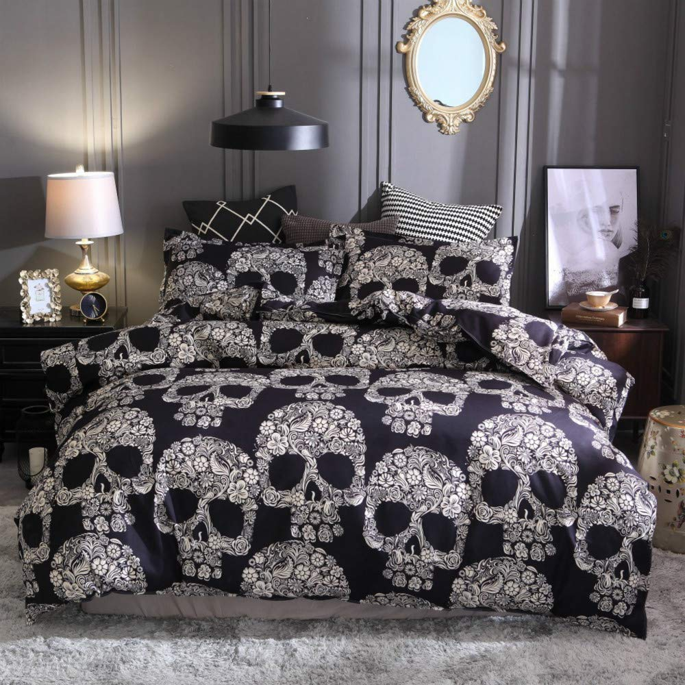 ZHH Skull Bedding Set Black and White Floral Skull Skeleton Microfiber Full Size Duvet Cover Set 3 Piece (Queen)