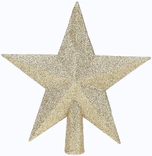 Aneco 20 cm Glitter Star Christmas Tree Topper Decoration Shatterproof Star Treetop for Christmas Tree Ornament