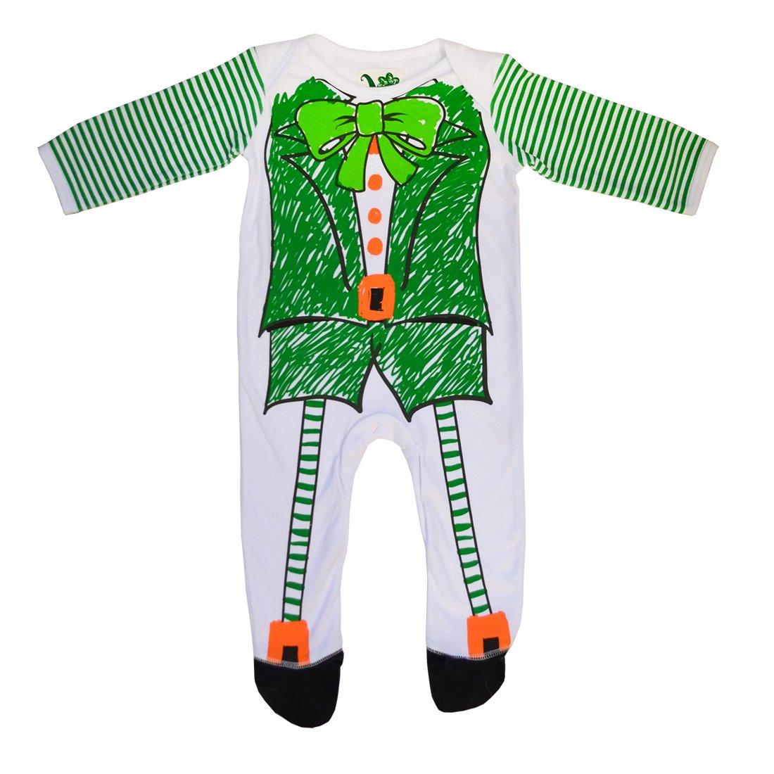 Traditional Craft White and Green Ireland Leprechaun Sketch Baby Romper Onesie