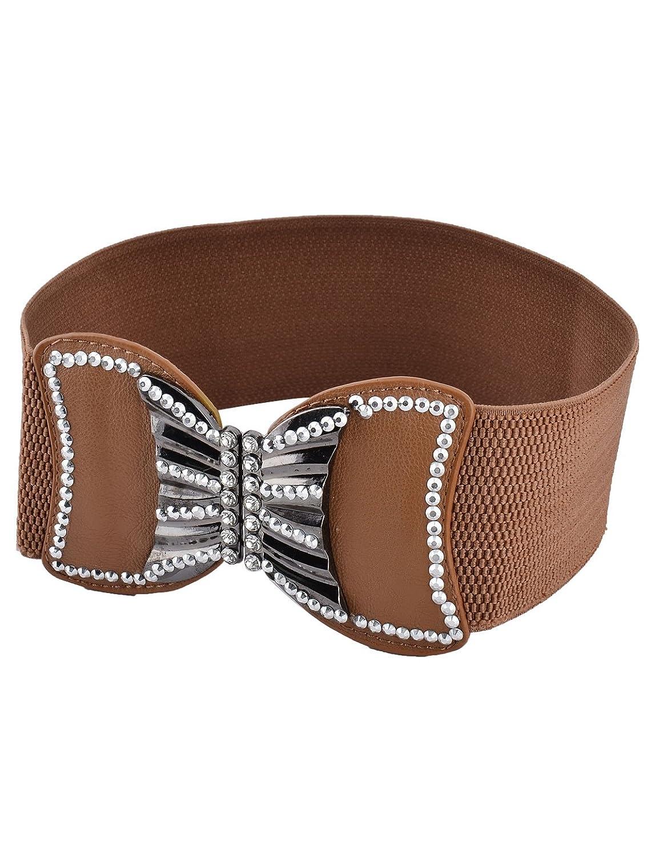 uxcell Women Lady Outdoor Butterfly Shaped Buckle Rhinestone Decor Elastic Cinch Waist Belt
