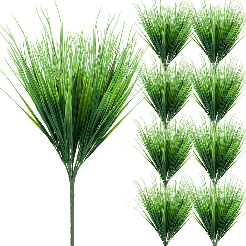 Zonlong Artificial Plants Grass, 9 Bundles Fake Plastic Greenery Shrubs Grass, UV Resistant Plants Spring Grass, for Outdoor Verandah Outside Home Garden, DIY Floral Hanging Window Box Indoor decor