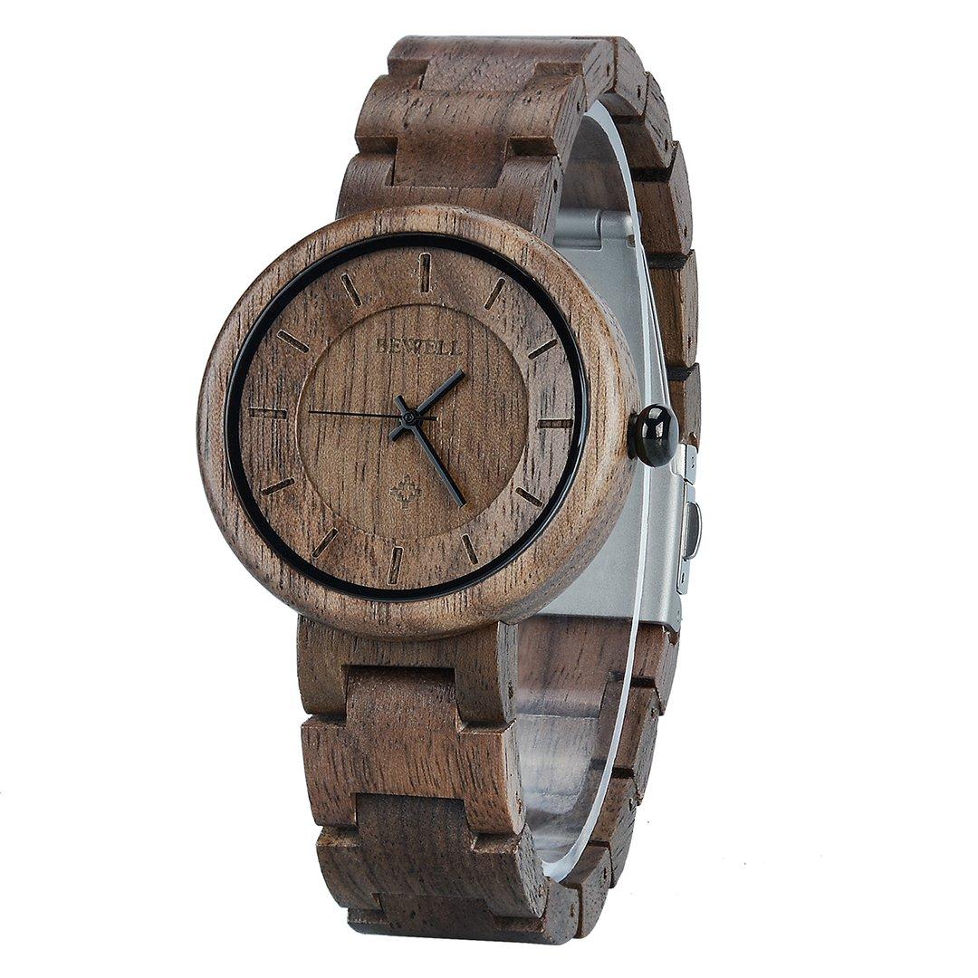BEWELL Reloj Mujer Madera Analógico Cuarzo Japonés con Correa de Madera Redondo Casual Relojes de Pulsera (Negro): Amazon.es: Relojes