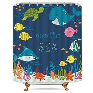 Cdcurtain Cartoon Underwater Sea Animal Shower Curtain Metal Hooks 12-Pack Deep Ocean Starfish Sea Turtle Blue Kids Decor Fabric Panel Set 72x72 Inch Bathroom