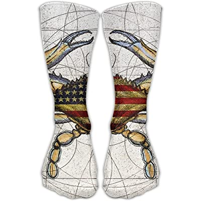 USA Flag Big Crab Unisex Sports Socks Tube Socks Knee High Compression Sports Athletic Socks Tube Stockings Long Socks