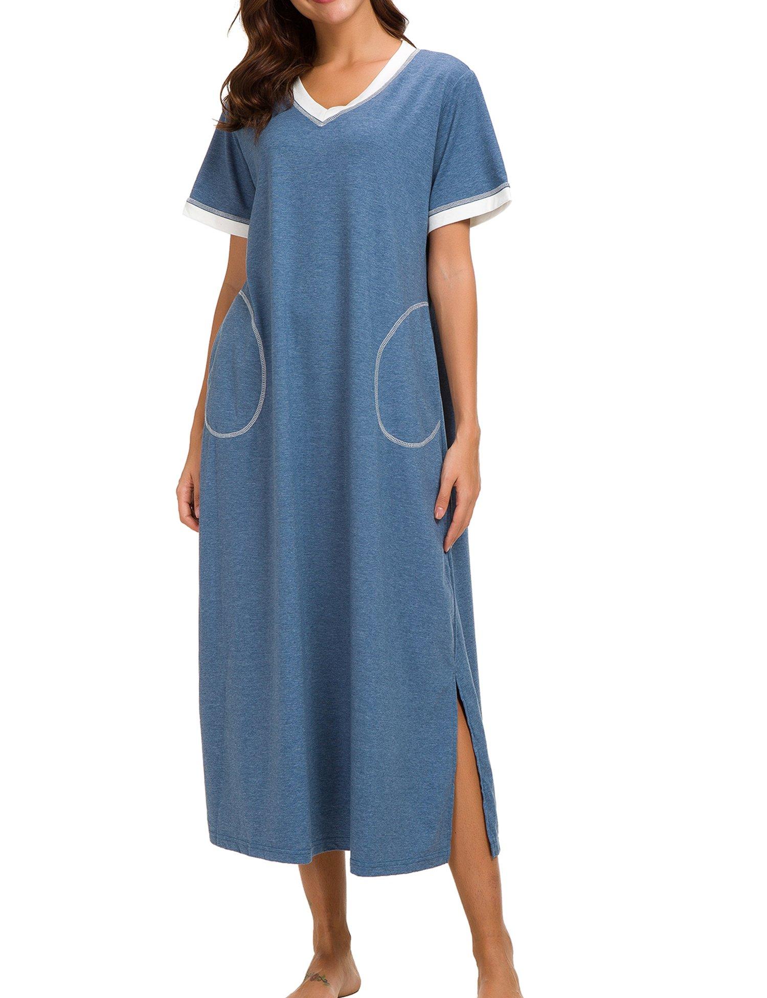 Dolay Short Sleeve Nightgown Cotton Sleep Dress for Women Full Sleep T Shirts (Blue, Small)
