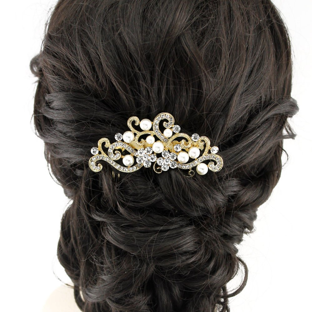 Handmadejewelrylady Bridal Women Vintage Wedding Party Crystal Rhinestone Hair Comb Hair Accessories Wedding Headpiece (Gold))