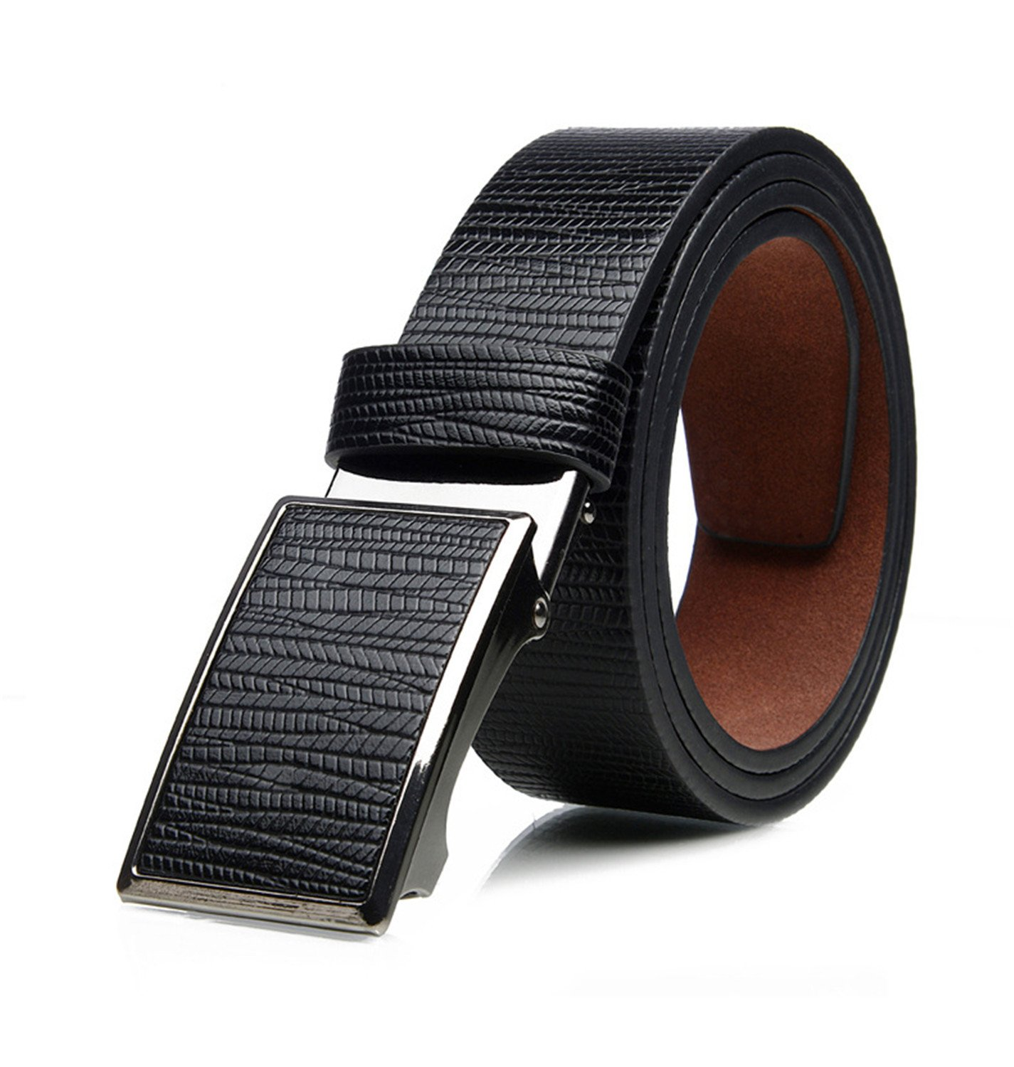 Eric Hug?Fashion?NEW top quality 100%cow genuine fashion leather men belts for men automatic buckle strap cinto masculino Black 120cm