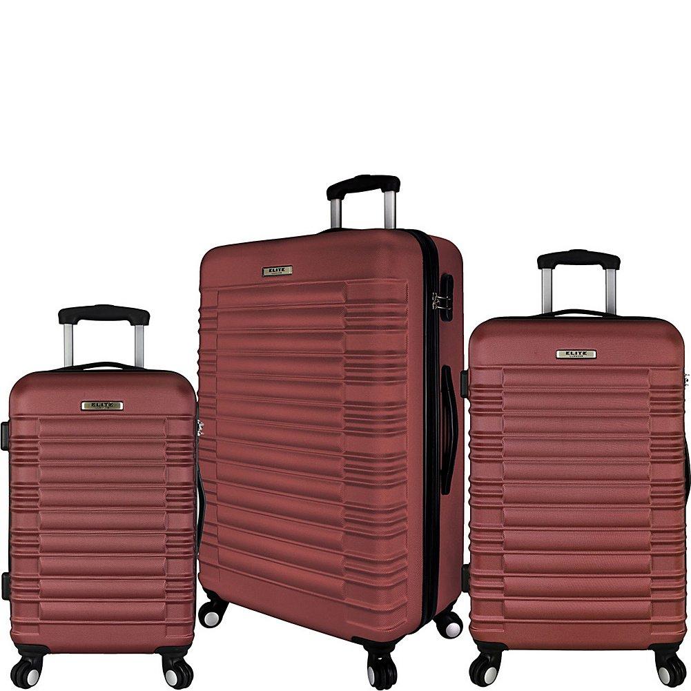 Elite Luggage Tustin 3 Piece Hardside Spinner Luggage Set Red