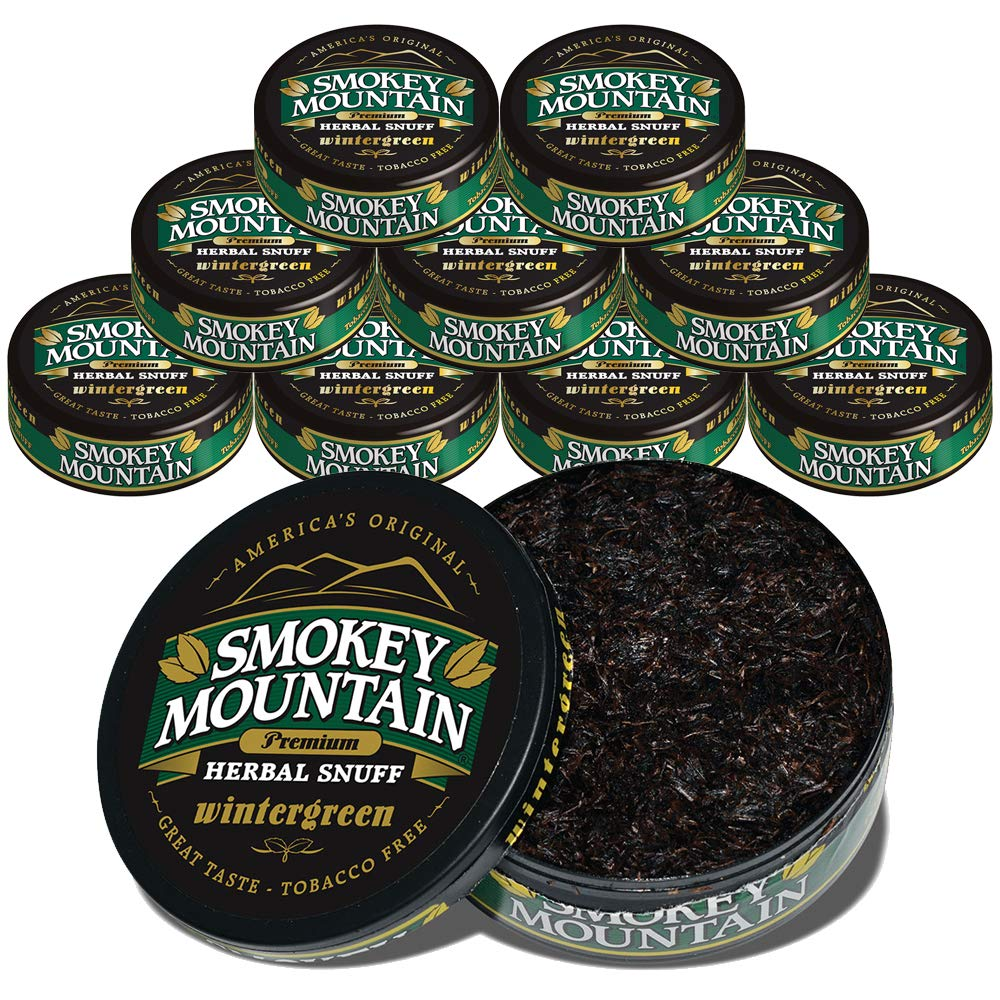 Smokey Mountain Wintergreen Snuff, 10 Cans, no Tobacco and no Nicotine, Refreshing Herbal and Smokeless Chew Alternative    by Smokey Mountain