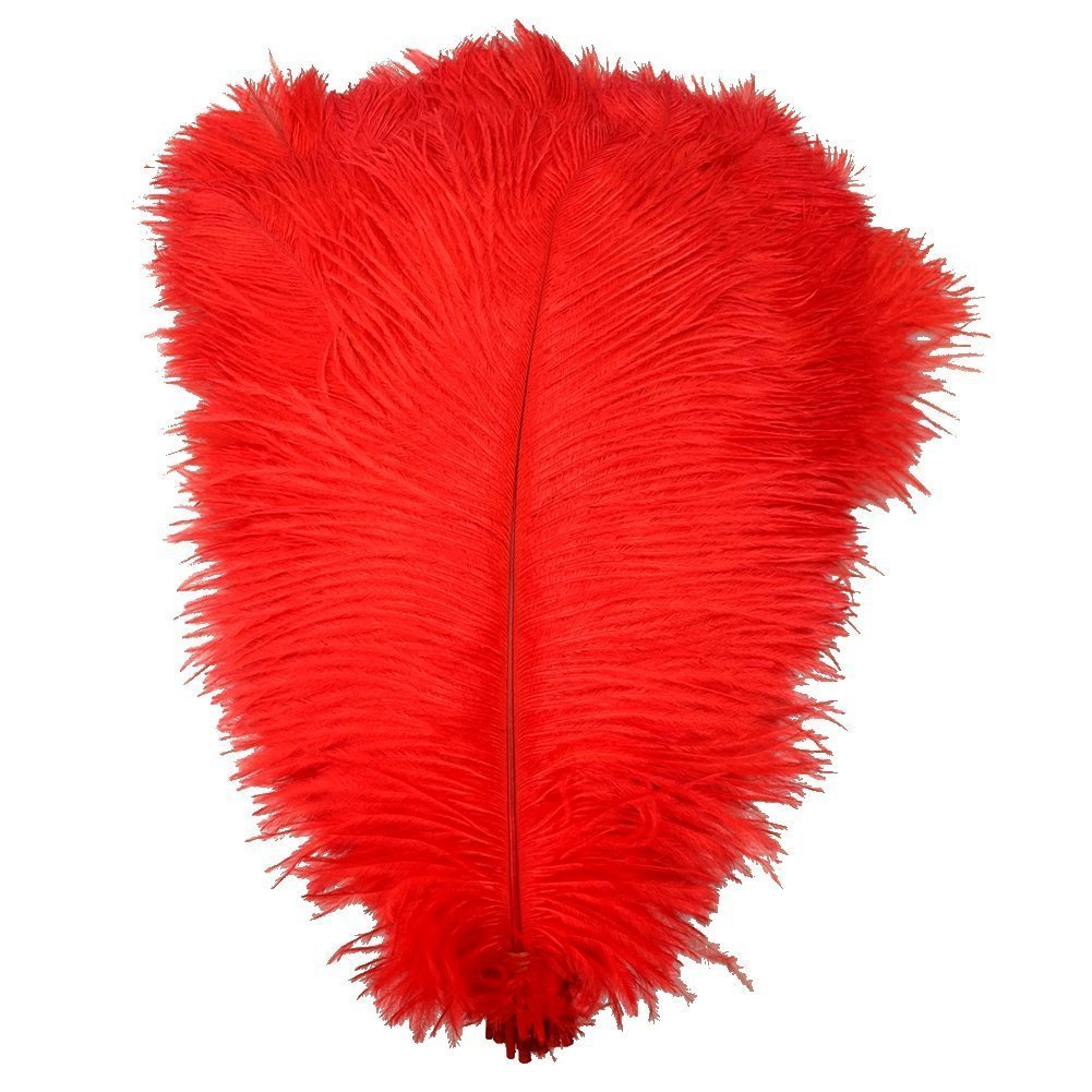 KOLIGHT Set of 50pcs 14''~16''(35~40cm) Natural Ostrich Feathers for DIY Home Wedding Party Office Decoration (Red)