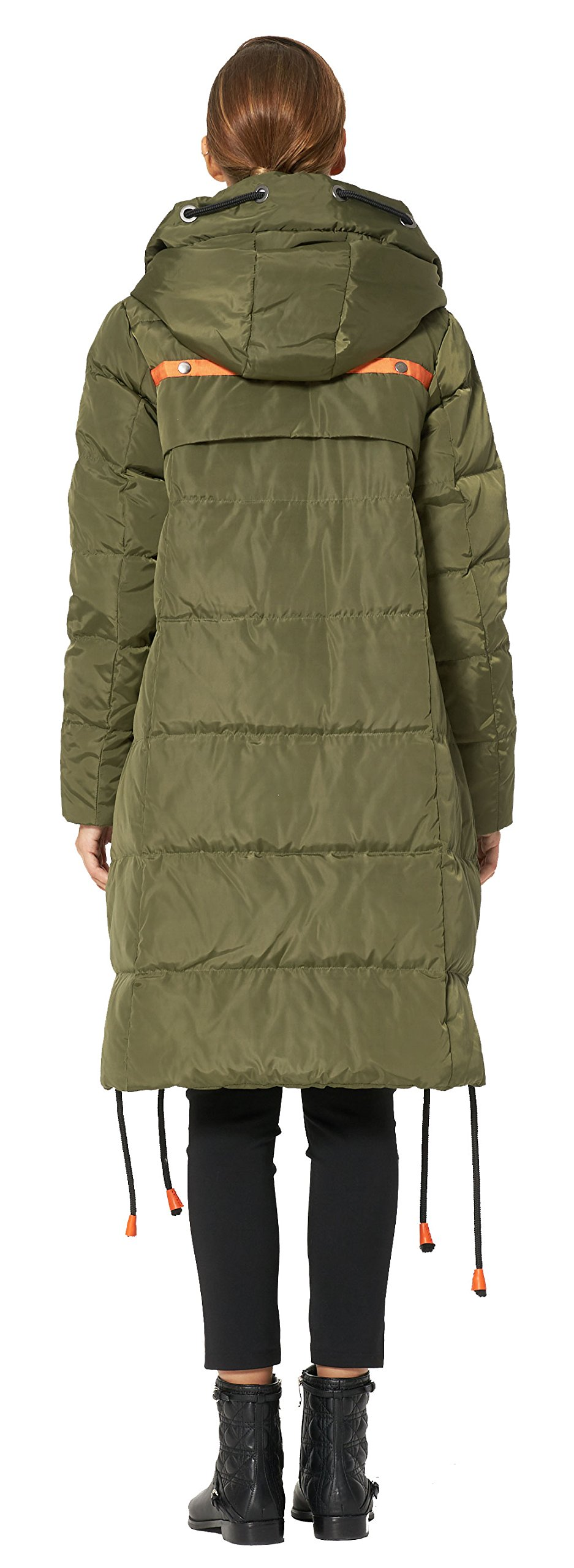 Orolay Women's Thickened Contrast Color Drawstring Down Jacket Hooded ArmyGreen S by Orolay (Image #2)