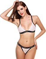 Ekouaer Womens Lace & Cotton Wrieless Cup Everyday Bras and Panty Set (S-L)