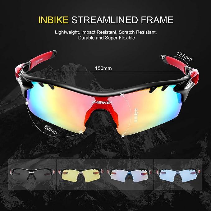 Inbike Gafas de Sol Polarizadas Para Ciclismo con 5 Lentes Intercambiables Uv400 y Montura de Tr-90, Gafas Para Mtb Bicicleta Montaña 100% de Protección Uv(Negro): Amazon.es: Deportes y aire libre