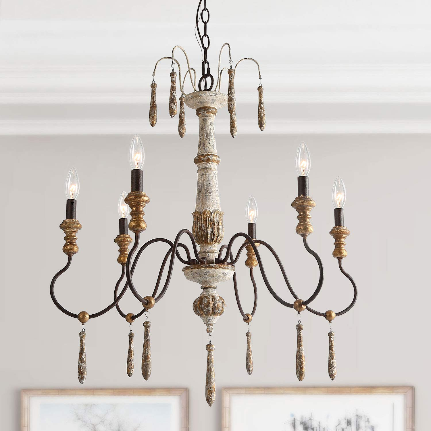 LALUZ Distressed French Style Chandelier, 6-Light French Country Pendant Lights
