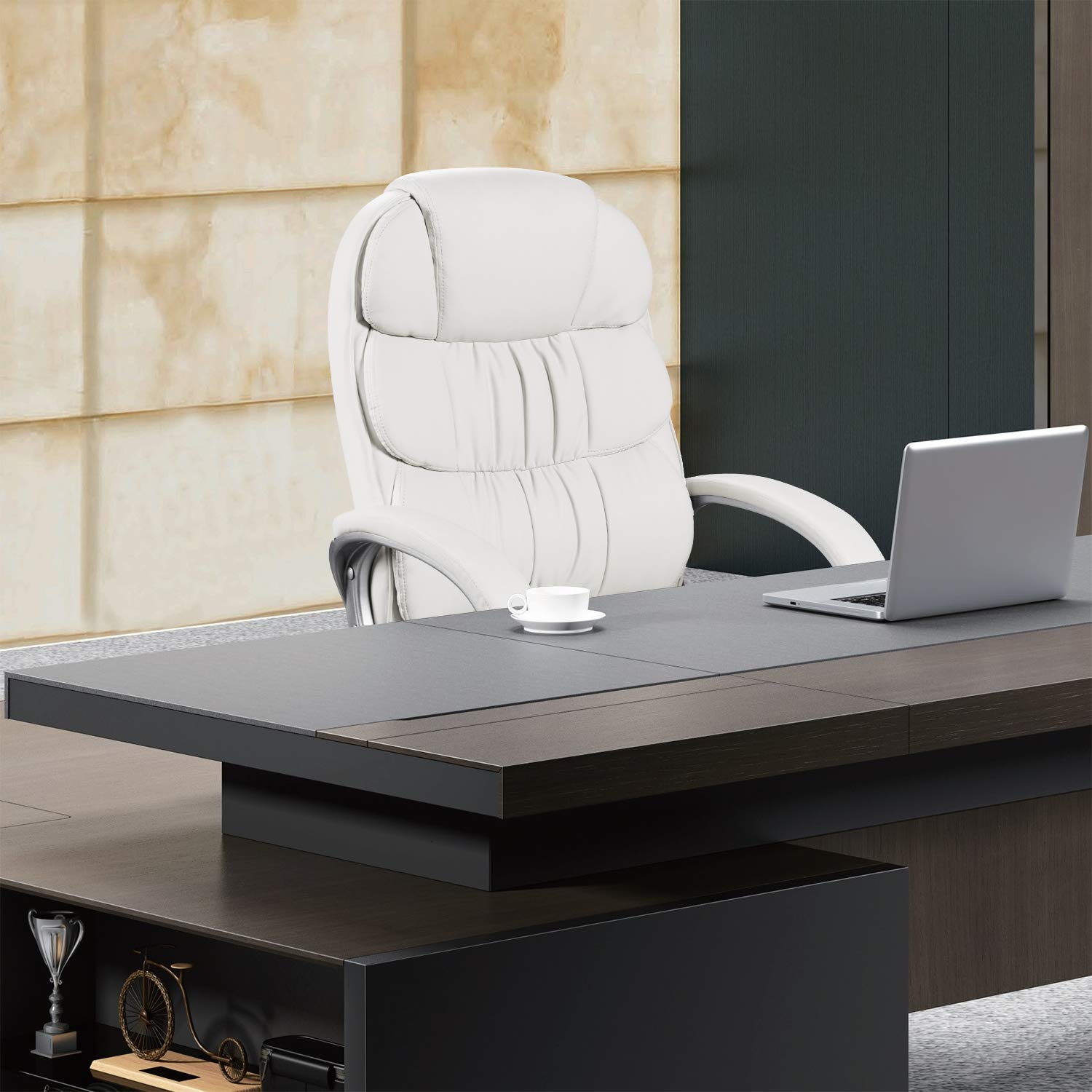 Homall Office Chair High Back Computer Desk Chair, PU Leather Adjustable Chair Ergonomic Boss Executive Management Swivel Task Chair with Padded Armrests (White) by Homall (Image #7)