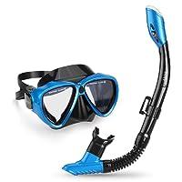INTEY Schnorchelset Schnorchelmaske mit Anti-Fog Taucherbrille und Dry Schnorchel inkl. Ausblasventil und Anti-Fog Tachermaske aus Gehärtetem Glas für Erwachsene und Kinder, Blau/Schwarz