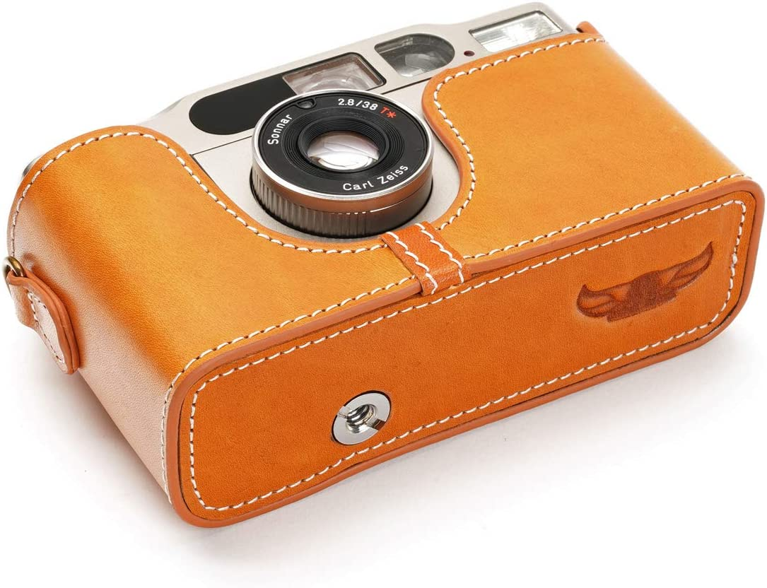 BolinUS Handmade Genuine Real Leather Half Camera Case Bag Cover for Contax T3 Camera with Hand Strap Contax T3 Case Yellow