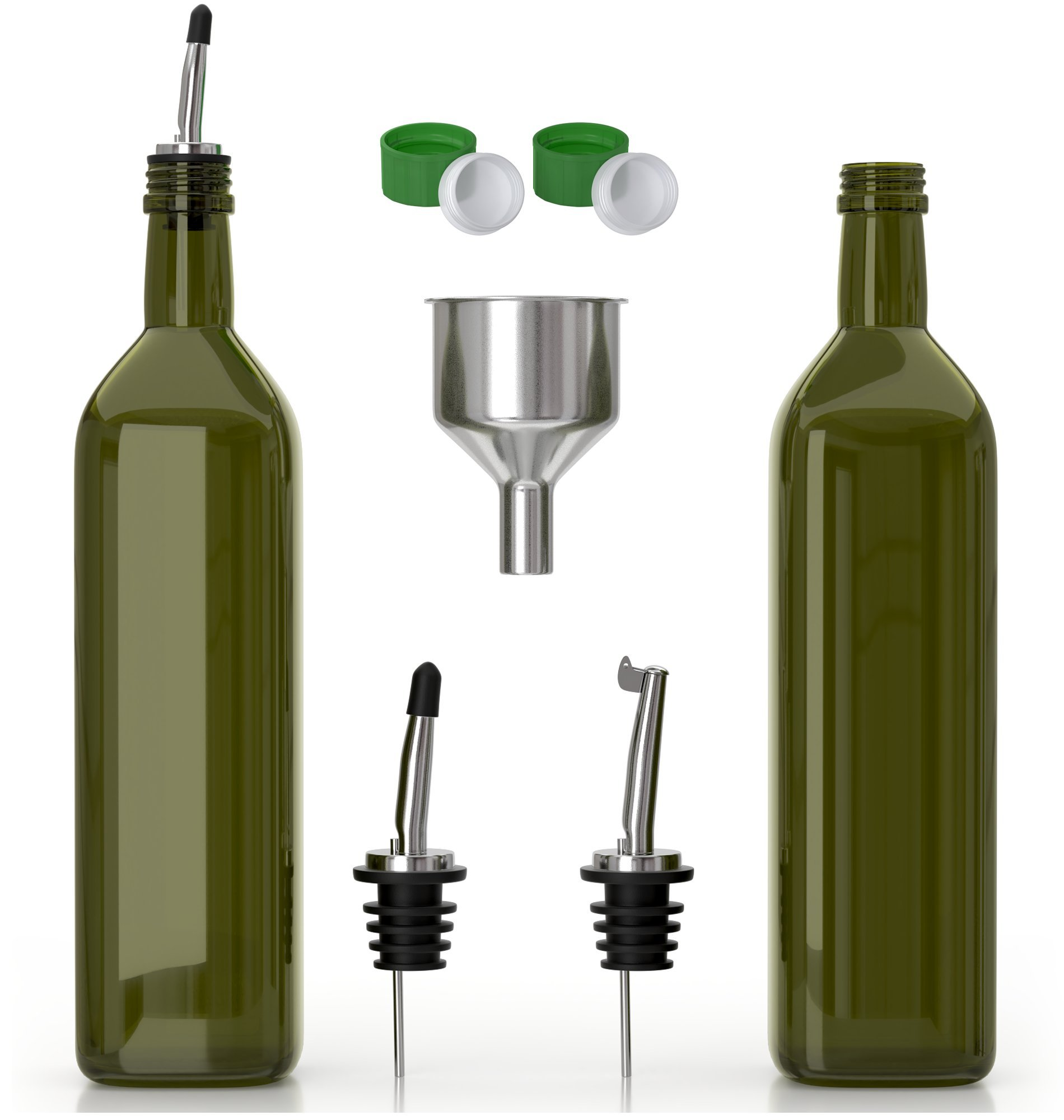 Olive Oil Dispenser -2 Pack of 17 oz. Glass Bottles and Pourer Spout Set for Kitchen - Oil & Vinegar Cruet/Decanter with Funnel - Set of Two: Use One, Have One Ready On Standby