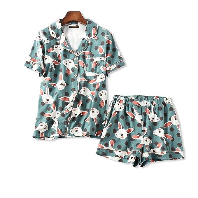 Ellse Trajes De Dos Piezas Estampados Pijamas Mujeres Short-Sleeved Shorts Verano: Amazon.es: Ropa y accesorios