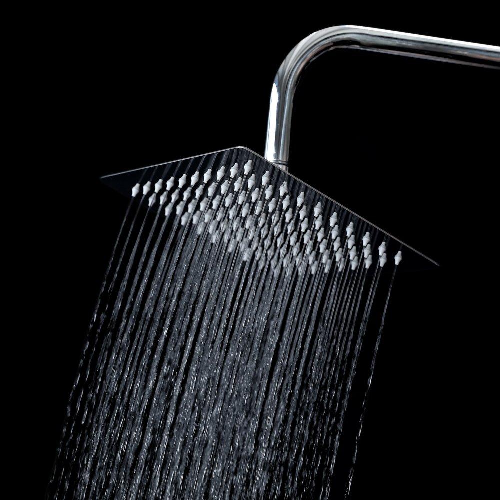 Rain 8-inch Square Shower Head Chrome Ultra-Thin Waterfall Rain Showerhead SUS304 Stainless Steel Universal Fit For Bathroom (8inch)