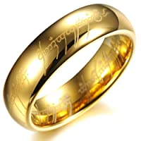 Opk Jewellery High Polished 18K Gold Plated Tungsten Carbide Steel Men's Wedding Rings Finger Band