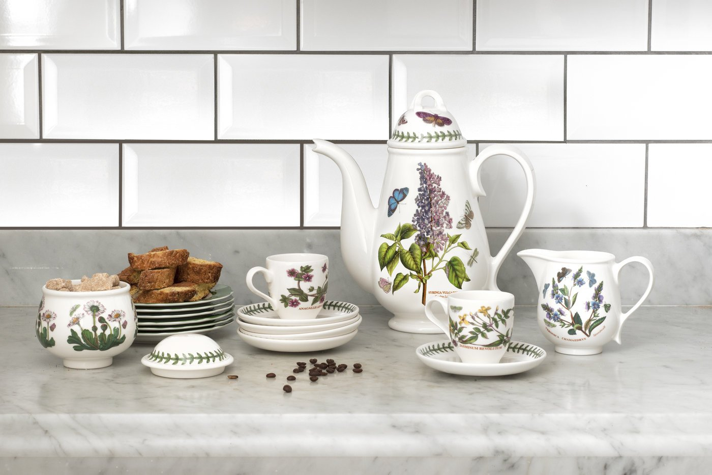 Portmeirion Botanic GardenTradtional Shape Breakfast Cup and Saucer, Set of 6 Assorted Motifs