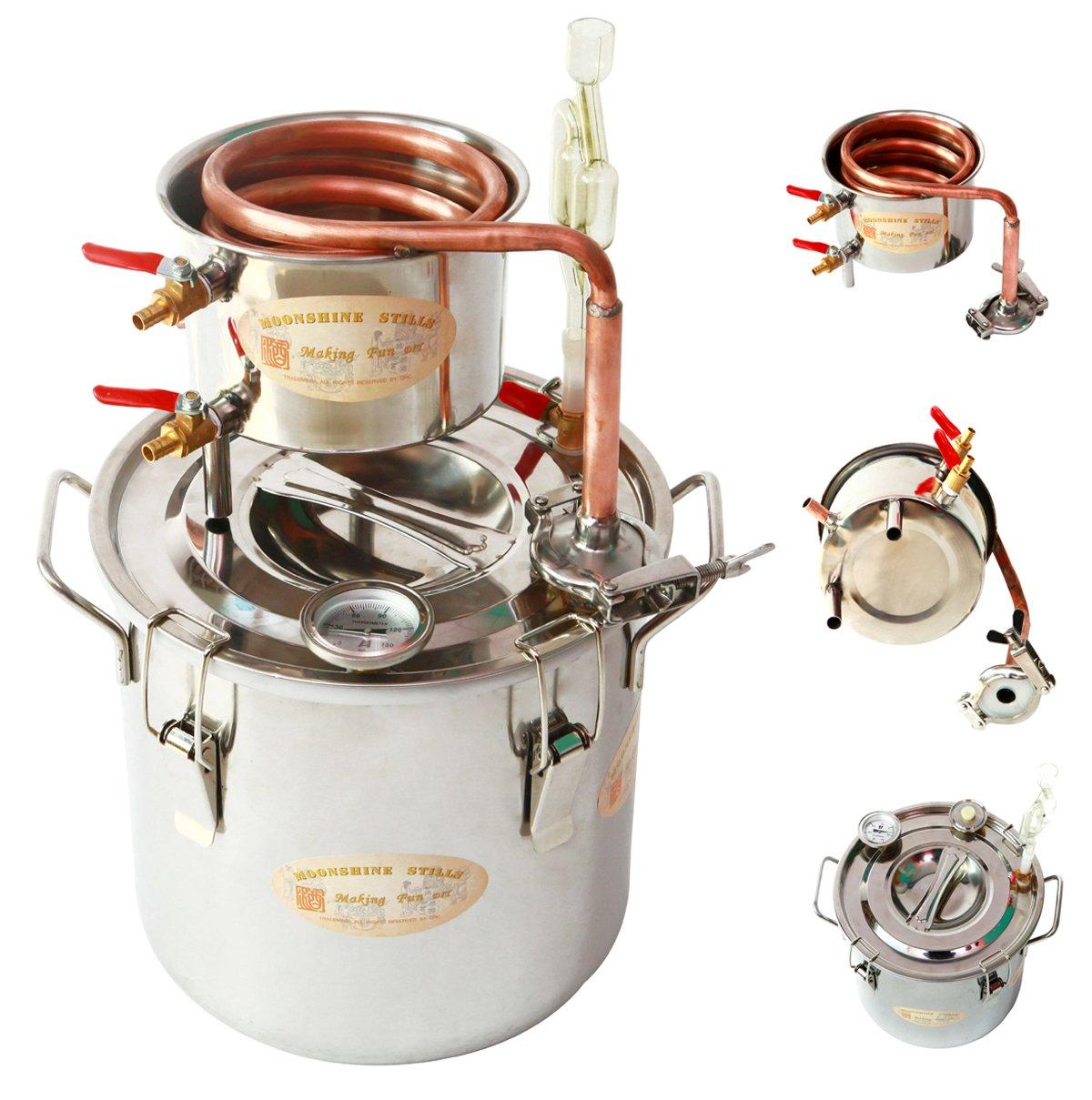 WMN_TRULYSTEP MSC03 Copper Alcohol Moonshine Ethanol Still Spirits Boiler Water Distiller, 20 Litres