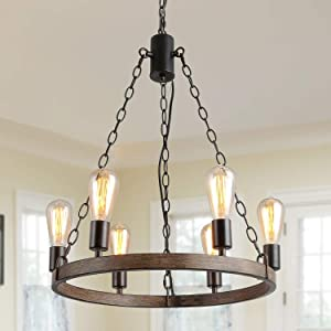 LALUZ Farmhouse Chandelier for Dining Room Rustic Pendant 6 Light Hanging Fixtures, with Adjustable Chain