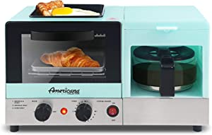 Elite Gourmet Maxi-Matic Americana 3-in-1 Breakfast Center Station, 4-Cup Coffeemaker, Toaster Oven with 15-Min Timer, Griddle, 1-Slice, Blue