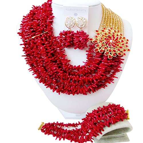 laanc African Nigerian Beads Fashion Womens Coral With Crystal Bridal Wedding Jewelry Sets