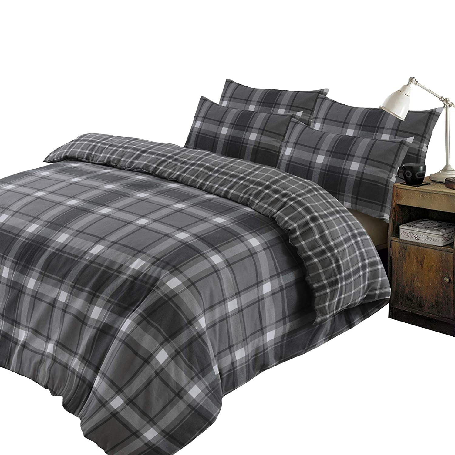 Tartan Flannelette 100/% Brushed Cotton Duvet Cover Bedding Set With Pillowcases