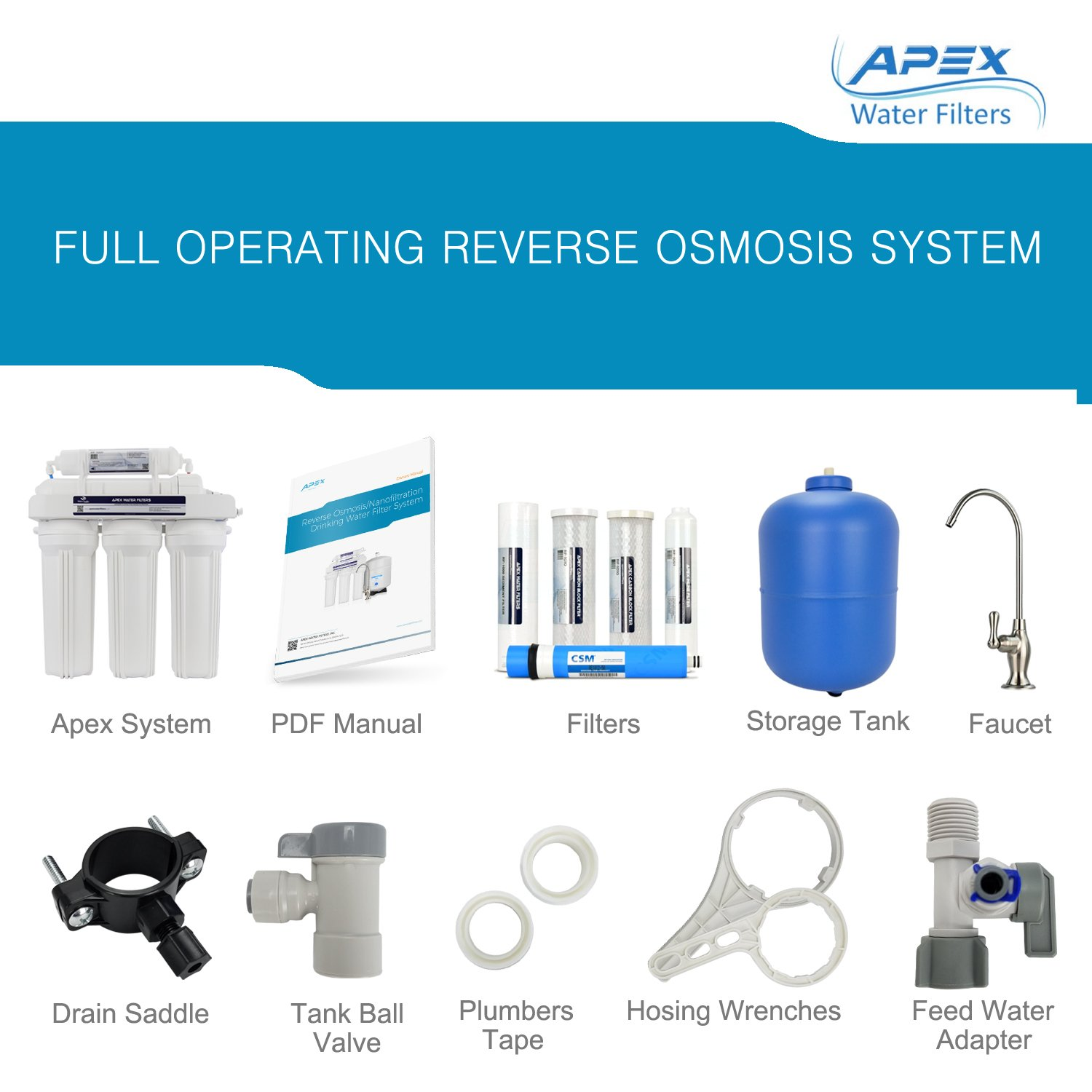 Amazon.com: APEX MR-5050 5 Stage Reverse Osmosis Drinking Water ...