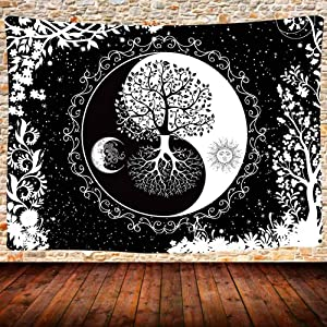 Sun and Moon Tapestry,Mandala Black and White Wall Hanging Yin Yang Tree of Life Tapestry,80X60 Inches Bedroom Dorm Home Decor GTQQUH666