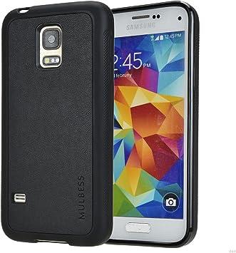Mulbess Funda Samsung Galaxy S5 Mini Cuero Silicona TPU Suave Carcasa para Samsung Galaxy S5 Mini, Negro: Amazon.es: Electrónica