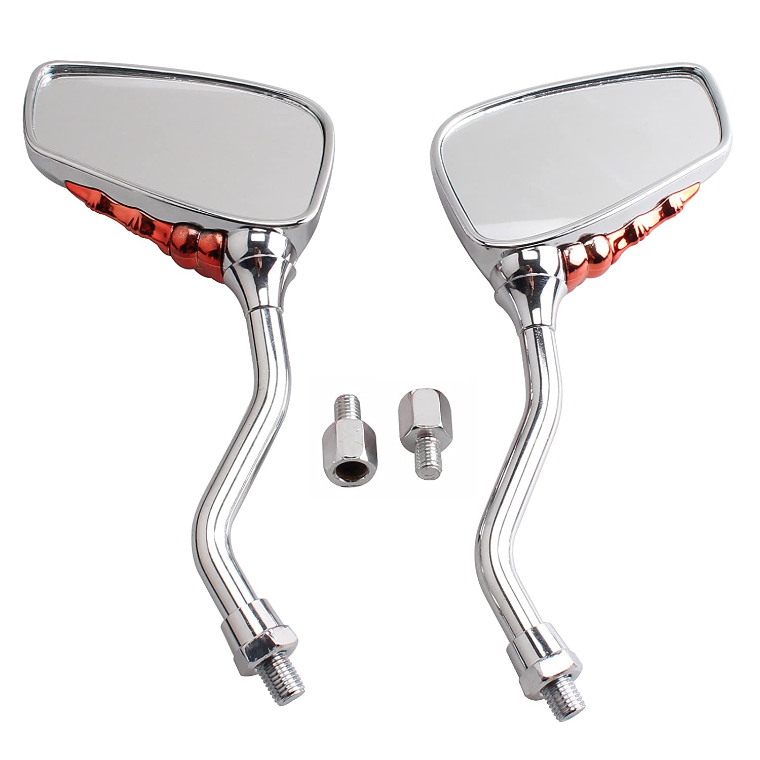 Universal Fit Chrome Skull Skeleton Side Mirrors Rare Mirror for Motorcycle Moto Bike 10mm 8mm Thread Bolts For Suzuki Honda Kawasaki Yamaha Victory red