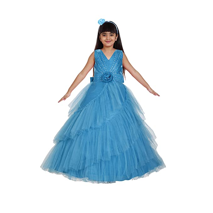 Saba Garments Kids Girl S Full Length Birthday Party Cendrilla Parincess Look Ball Gown Dress