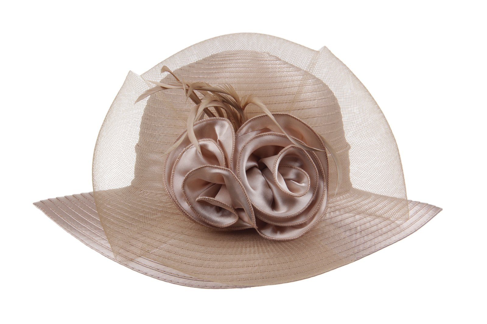 Prefe Lady's Kentucky Derby Dress Church Cloche Hat Bow Bucket Wedding Bowler Hats (Champagne, One Size)
