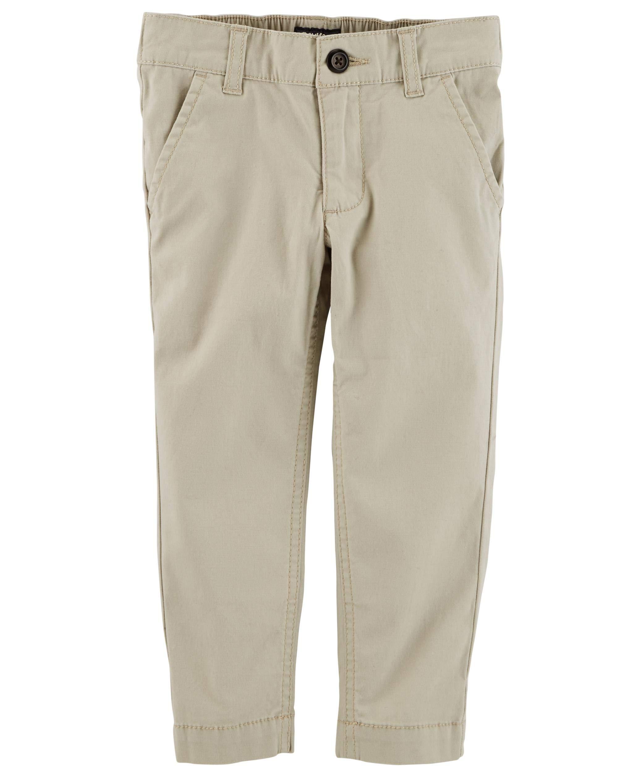 Osh Kosh Boys' Toddler Slim Stretch Twill Pant, Khaki, 4T