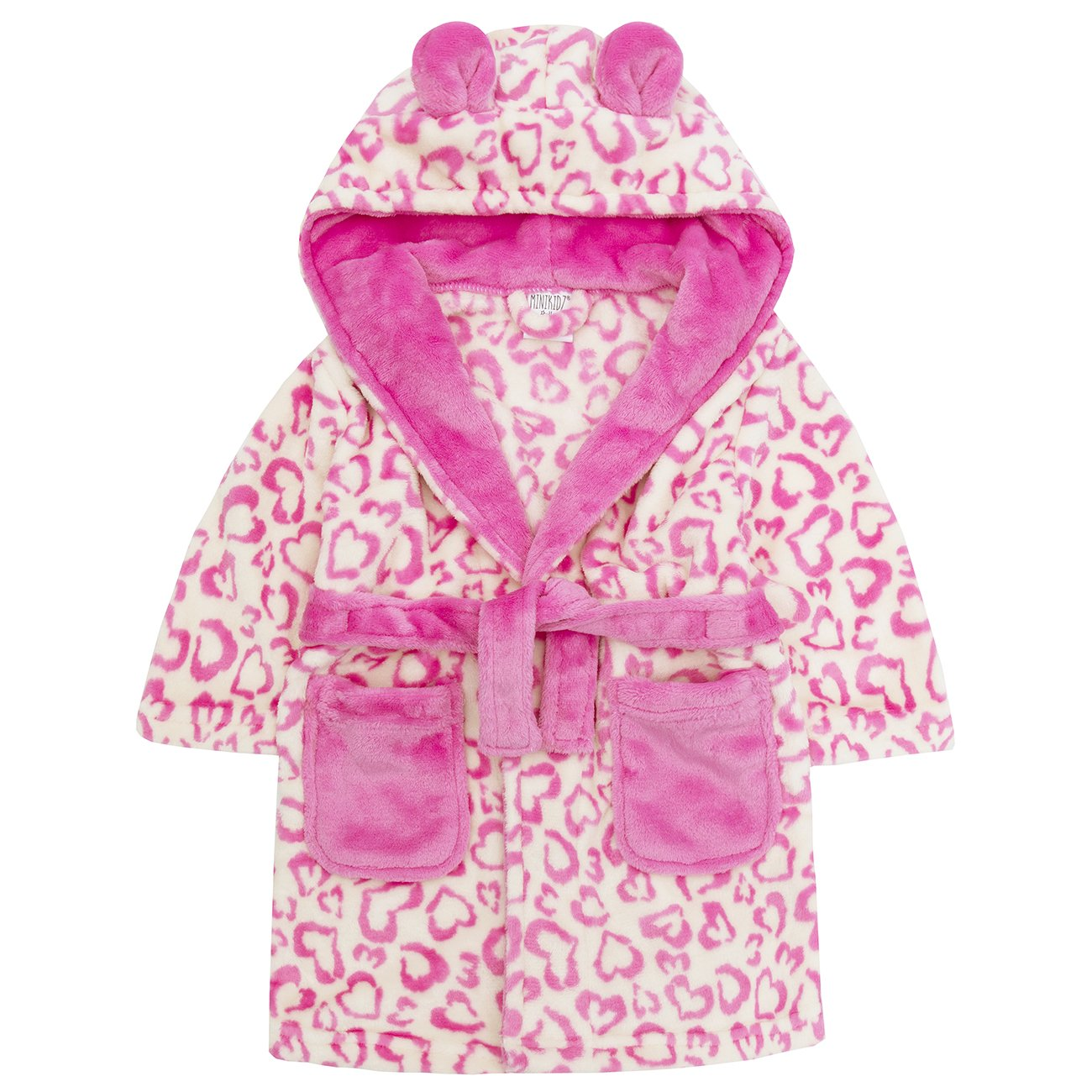 MiniKidz Childrens Heart Print Soft Fleece Hooded Dressing Gown ~ 2-13 Years