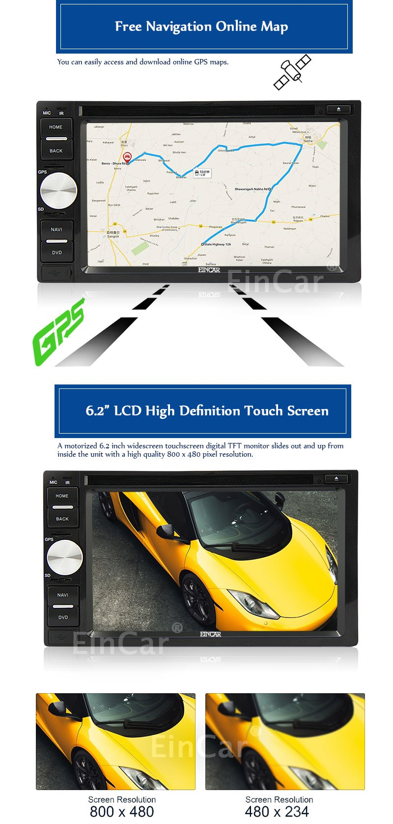 EinCar Android Double Din In Dash Vehicle GPS Car Radio Audio System 6.2 Inch Touch Screen Car Stereo DVD CD Player with Bluetooth WiFi Navigation System