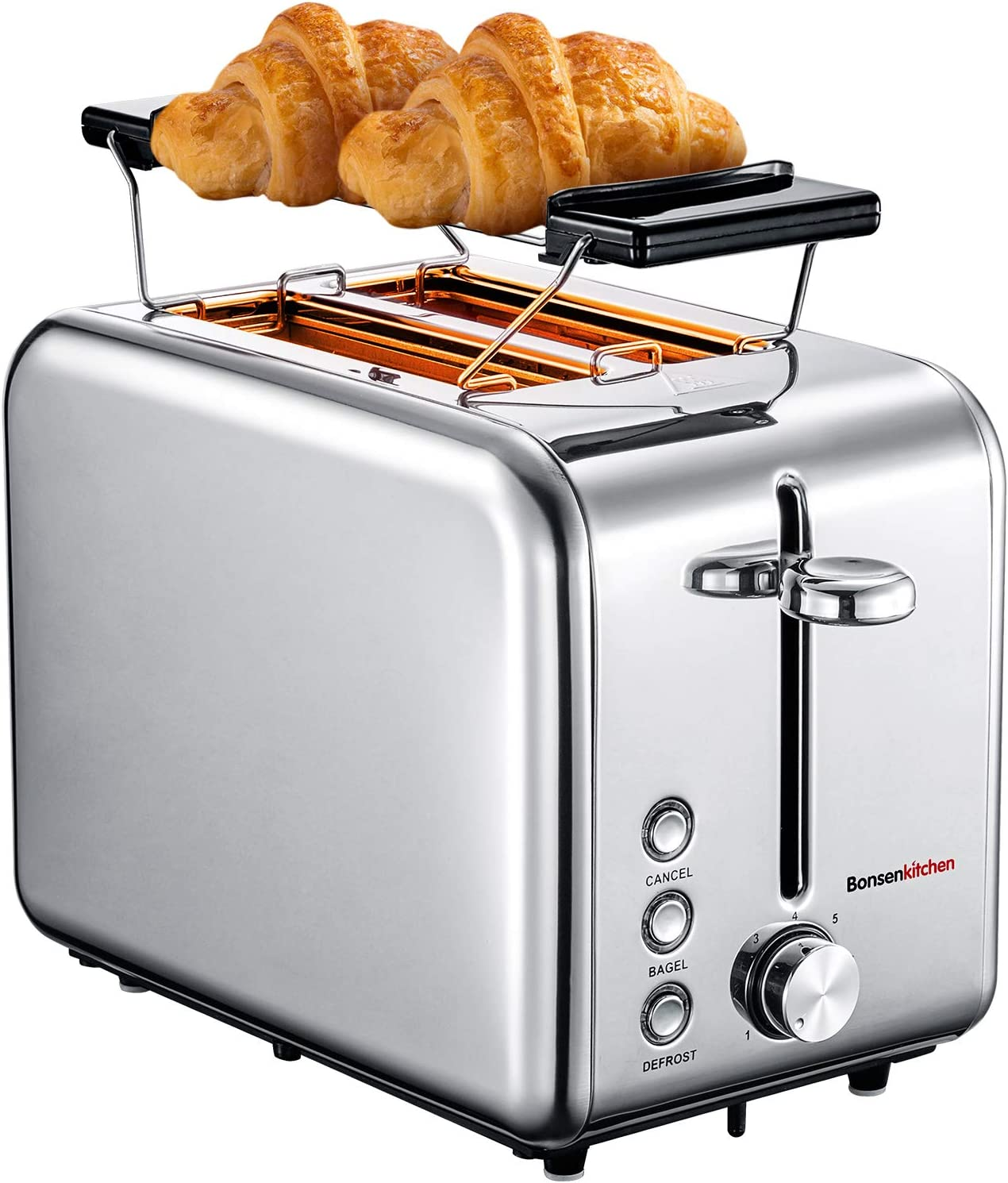 Bonsenkitchen 2-Slice Extra-Wide Slot Toaster with Defrost/Bagel/Cancel Function, 7 Shade Setting, Stainless Steel Bagel Toaster (Silver)