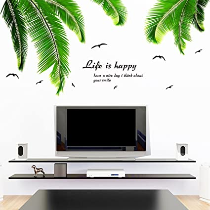 Captivating Removable Vinyl DIY Palm Tree Leaves Wall Stickers For Kids Room Living  Room Home Bedroom Wall