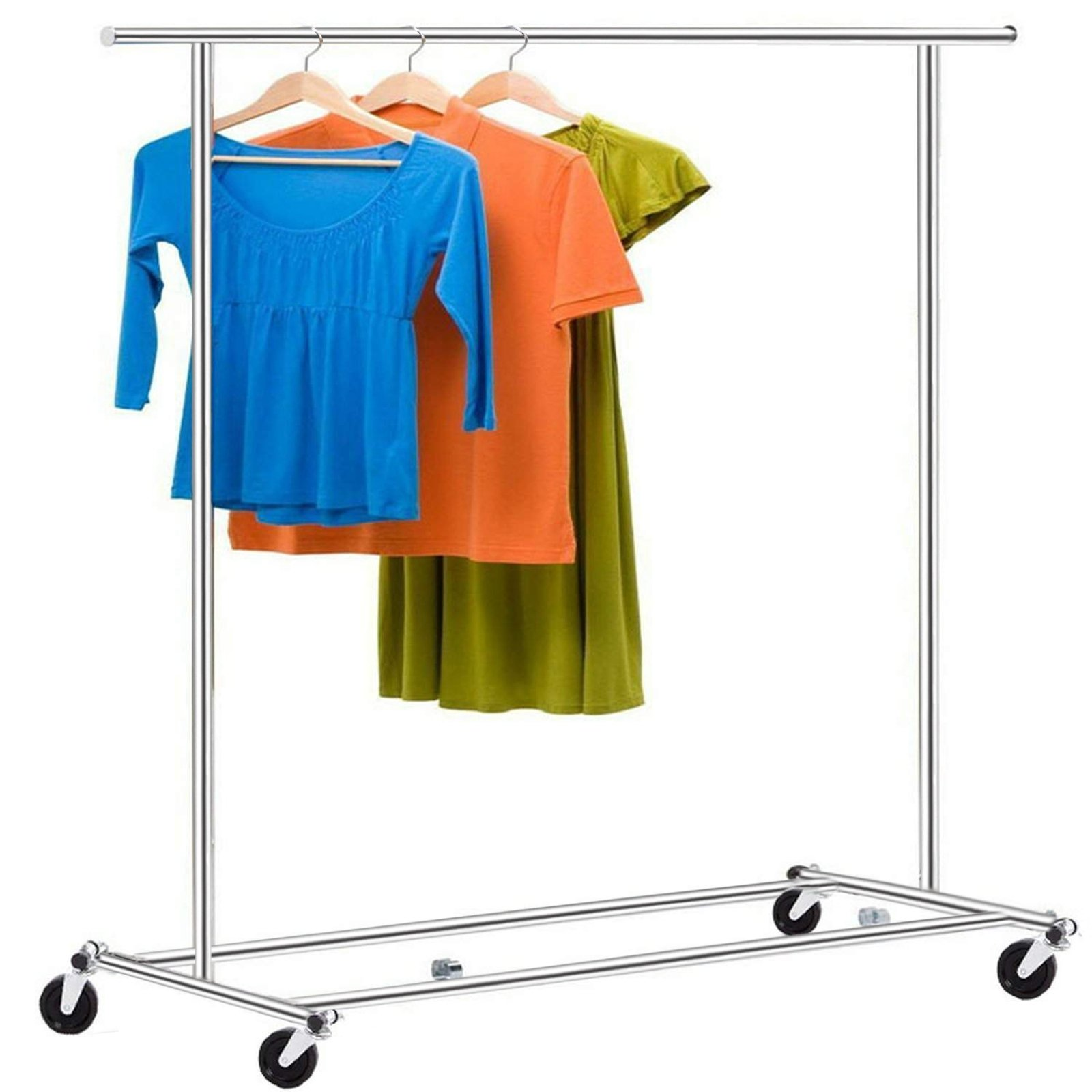 Cosway Adjustable Clothes Hangers Chrome Finish Garment Drying Display Hanging Racks With Rolling Wheels, US Stock