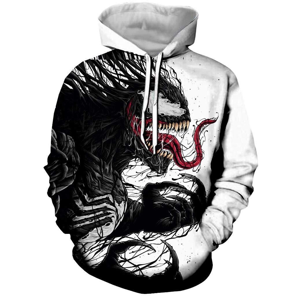 YX GIRL Unisex 3D Printed Spiderman Venom Hoodie Fashion Hoodies Pockets Hooded